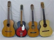 "4 Vintage ""Student"" Acoustic Guitars Barth Montana"