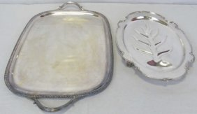 Lot Of 2 Silver Plate Items - Platter & Tray