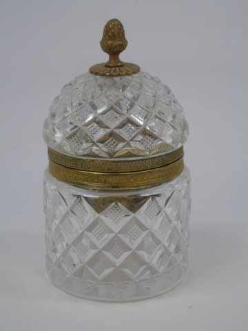 Antique French Empire Style Cut Crystal Table Box