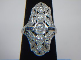 Antique Art Deco Platinum Diamond & Sapphire Ring