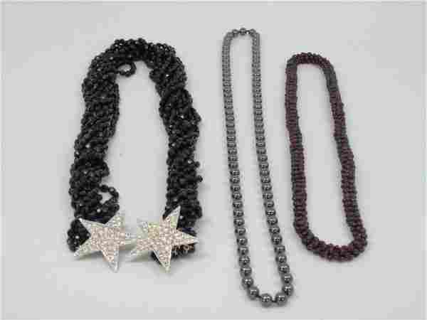 Lot of 3 Costume Jewelry Bead Jet Necklaces