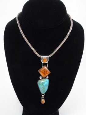 Native American Amber Turquoise Sterling Necklace