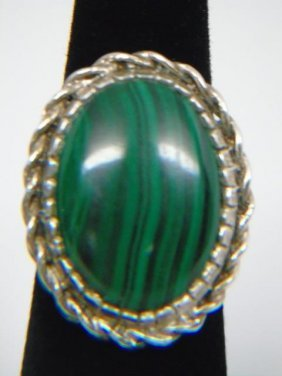 Sterling Silver & Malachite Ring Size 7