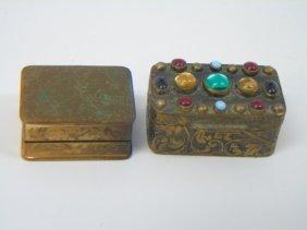 Antique Dollhouse Miniature Ormolu Jeweled Boxes