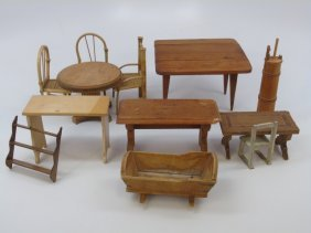 Antique Dollhouse Miniature Furniture Items