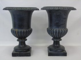 Pair Of Black Iron Garden Urns / Planters