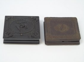 Two Antique Victorian Gutta Percha Daguerreotypes