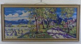 Framed Needlepoint Tapestry Country Street Scene