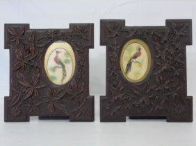 Pair Of Vintage Black Forest Carved Wood Frames