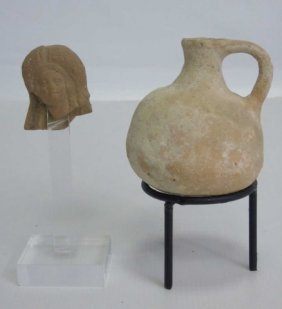 2 Ancient Israeli Terra Cotta Table Items