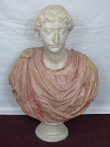 Antique Roman Style Carved Marble Bust Statue