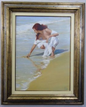 Lluis Ribas - Portrait Painting Of A Lady On Beach