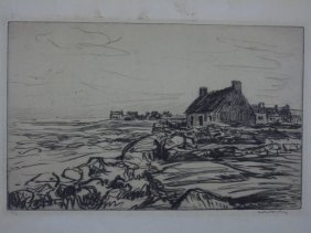 Antique Signed Engraving Of A Coastal Landscape