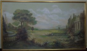 Oil Painting Panel Of An English Garden Landscape