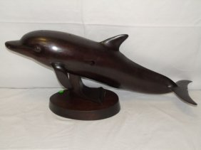 Ron Redden - Carved Wood Dolphin Sculpture
