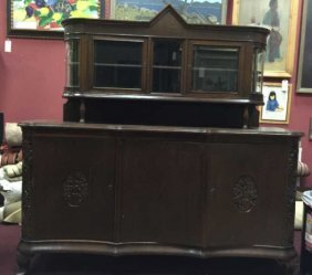 Large Antique German Carved Wood Buffet W/ Curio