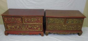 Pair Hand Carved Chinese Gilt Decorated Chests