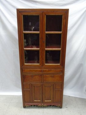 Antique Asian Style Carved Curio / China Cabinet