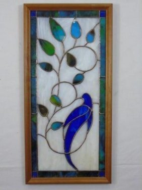 Framed Stained Glass Panel With Bird On Branch