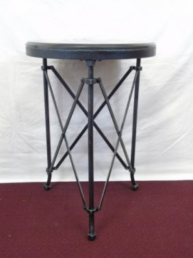 Contemporary Black Iron End Table W/ Marble Top