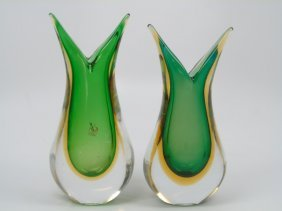 Pair Green Murano Glass Vases Formia Glass Work