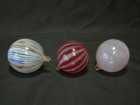 Lot Of 3 Murano Blown Glass Christmas Ornaments