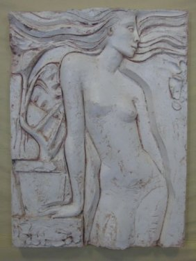 Molded Fiberglass & Wood Carved Nude Relief