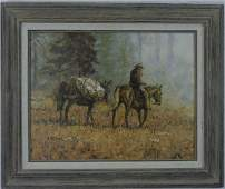 Richard Thomas- Oil Painting on Board of a Cowboy
