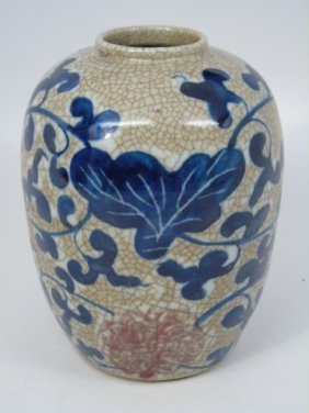 Chinese Painted Porcelain Crackleware Vase