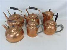 Collection of Six Antique Copper Tea Kettles