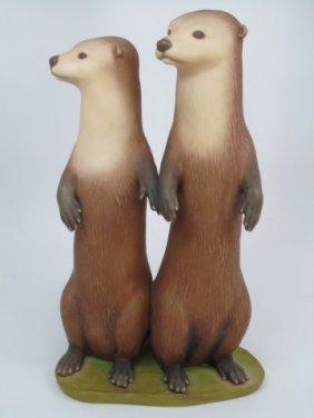 Laszlo Ispanky Porcelain Bisque Weasels