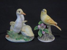 Vintage Hand Painted Bisque Porcelain Birds