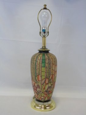 Vintage Pink & Green Painted Pottery Lamp