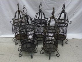 Set Of Five Wrought Iron Bird Cage Lanterns