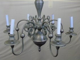 Vintage Chandelier Ceiling Light Fixture Pewter