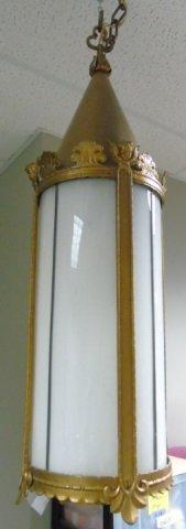 Vintage Gothic Style Brass & Glass Lantern