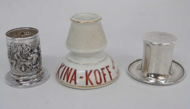 Antique Porcelain Sterling / Silver Smoking Items