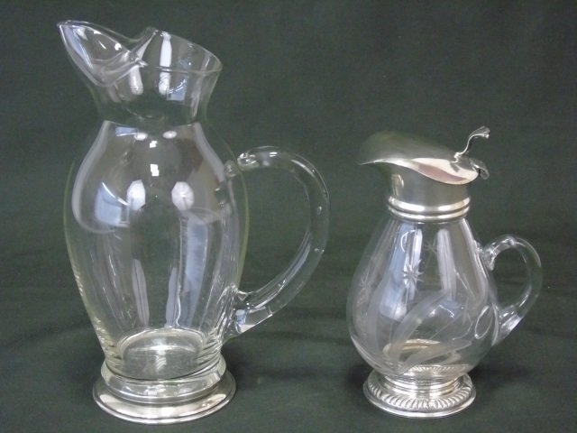 2 Vintage Glass and Sterling Pitchers