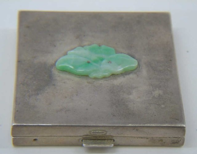 Vintage Sterling Silver & Jade Compact