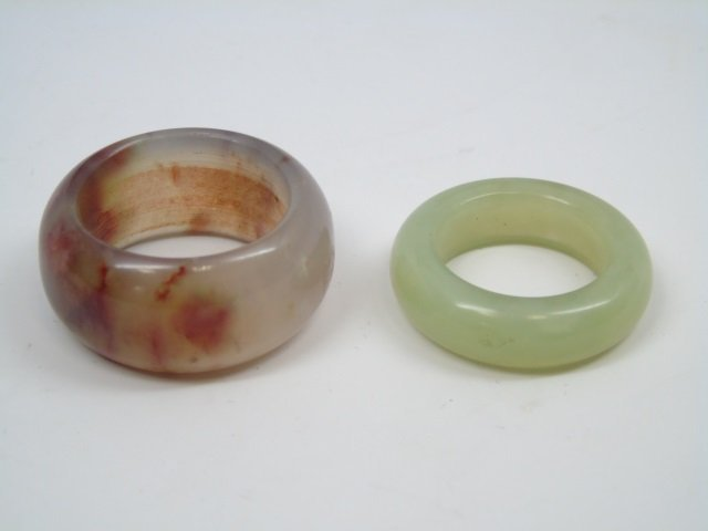 Two Chinese Carved Jade & Hardstone Rings
