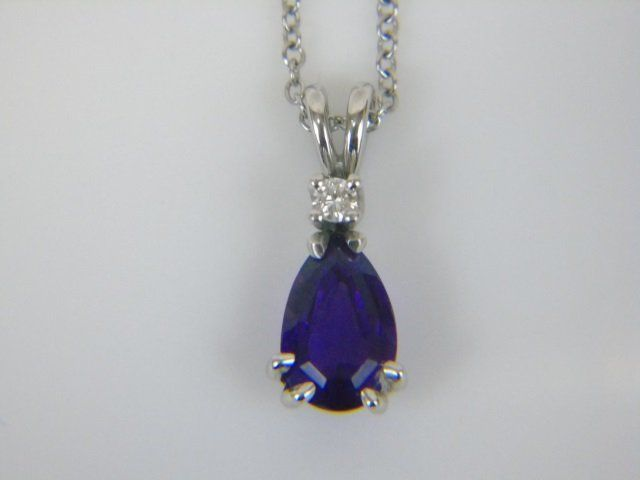 Gem Amethyst & Diamond White Gold Necklace