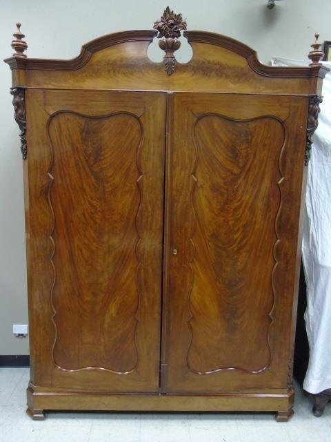Antique 19th C French Country Mahogany Armoire