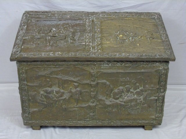 Antique Late 19th Cent. Trunk with Embossed Tin