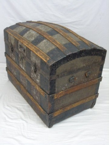 Antique 19th Cent. Steamer Trunk w/ Embossed Tin