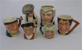 Lot of 6 Vintage English Royal Doulton Toby Mugs