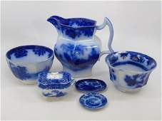 Antique Flow Blue Serving Items  Pitcher Bowl Etc