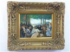 Parono- 20th C. Oil Painting of an Outdoor Party