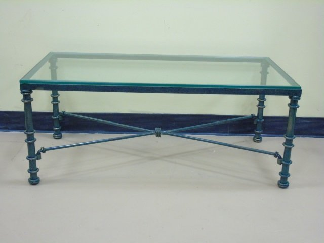 Beautiful Green Painted Wrought Iron Coffee Table Glass Top