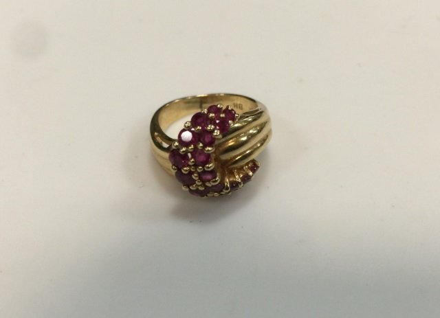 Estate 14kt Yellow Gold & Ruby Buckle Form Ring