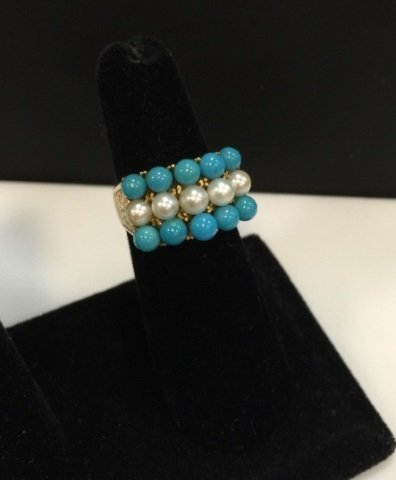 Estate 14kt Yellow Gold Turquoise & Pearl Ring